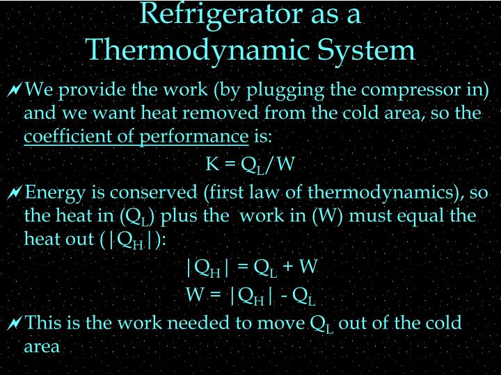 Refrigerator as a Thermodynamic System