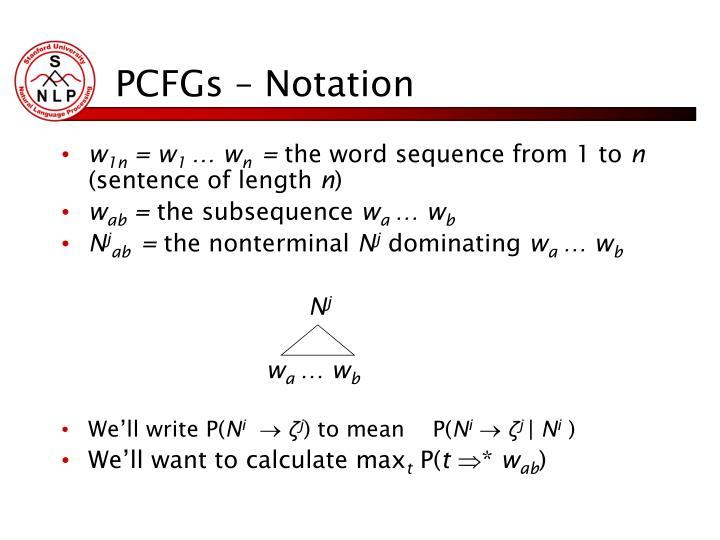 PCFGs – Notation