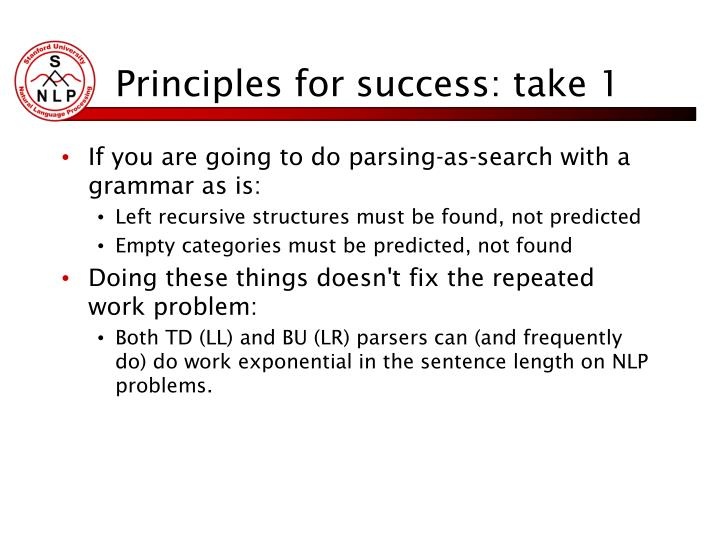 Principles for success: take 1