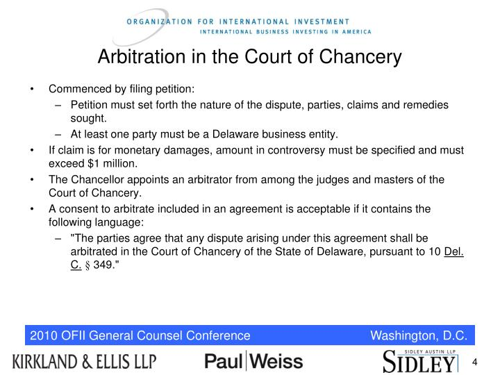 Arbitration in the Court of Chancery
