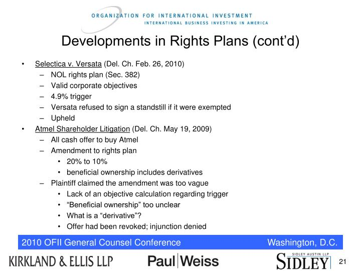 Developments in Rights Plans (cont'd)