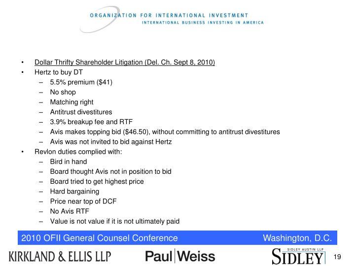 Dollar Thrifty Shareholder Litigation (Del. Ch. Sept 8, 2010)