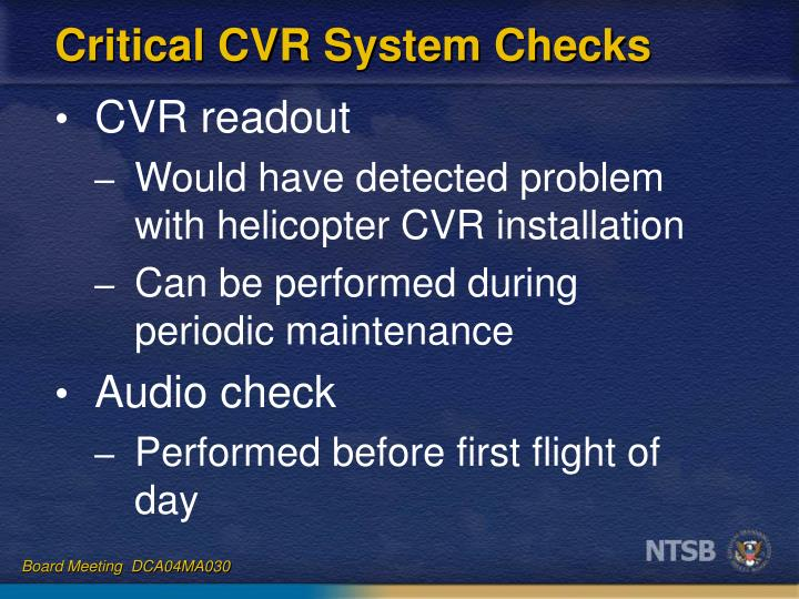 Critical CVR System Checks