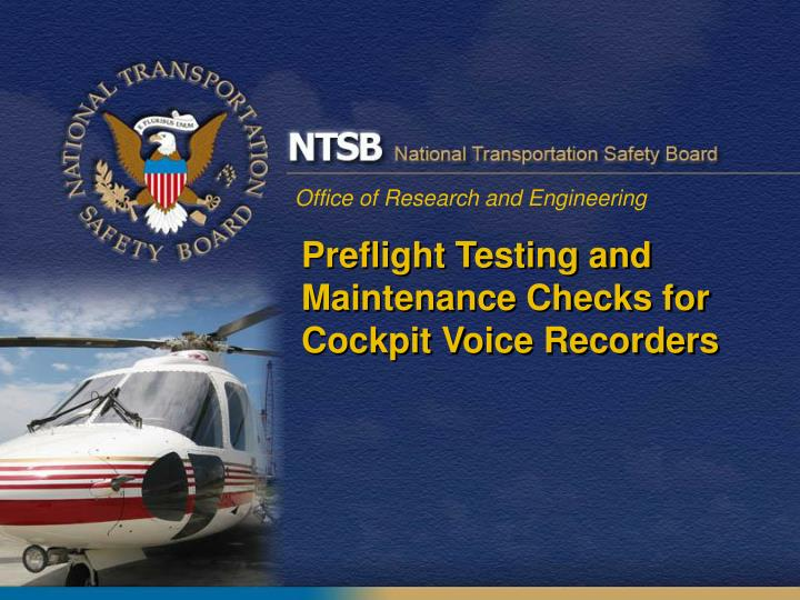 Preflight testing and maintenance checks for cockpit voice recorders