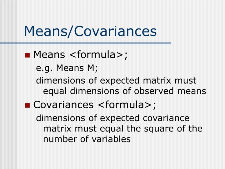 Means/Covariances