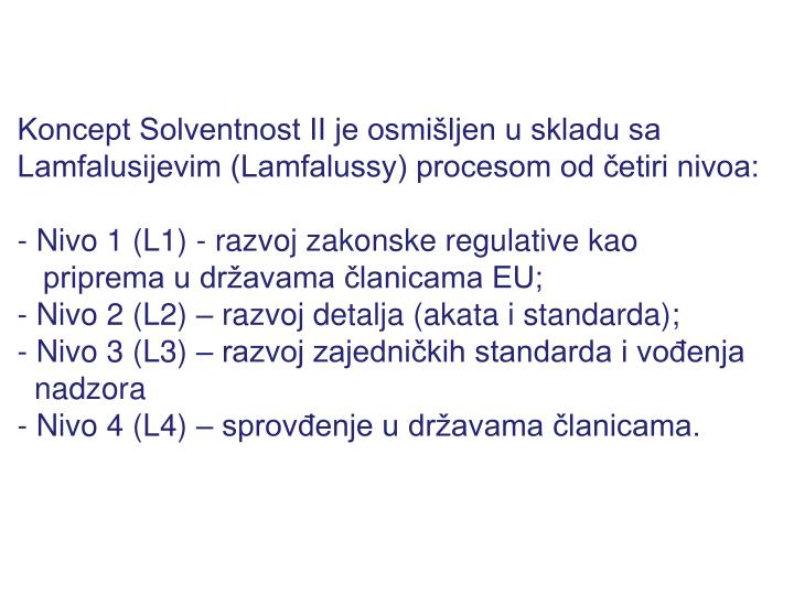 Koncept Solventnost II je osmišljen u skladu sa Lamfalusijevim (Lamfalussy) procesom od četiri nivoa:
