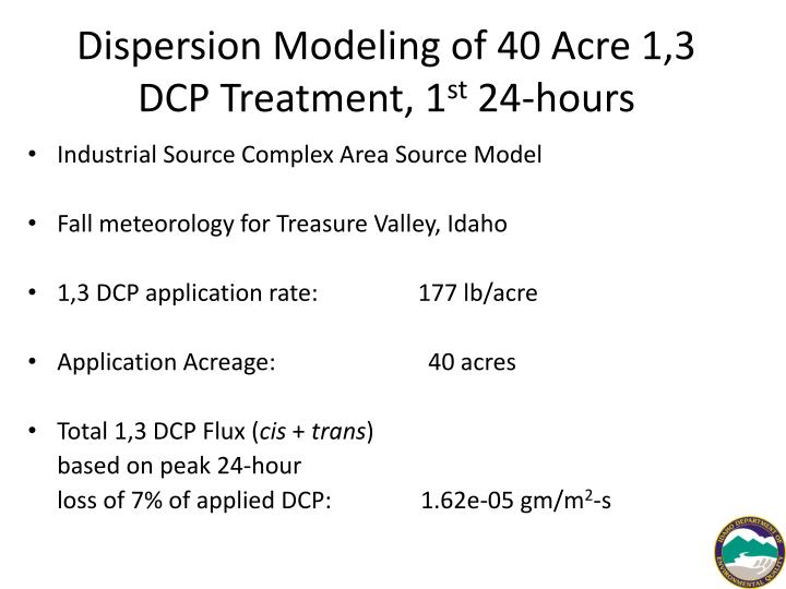Dispersion Modeling of 40 Acre 1,3 DCP Treatment, 1
