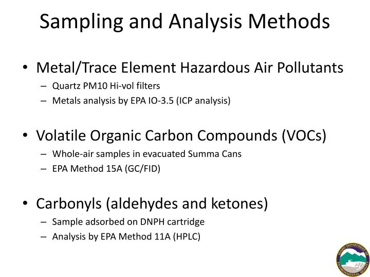 Sampling and Analysis Methods