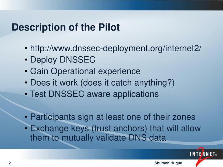 Description of the Pilot