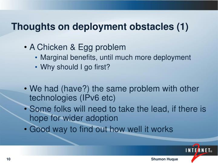 Thoughts on deployment obstacles (1)
