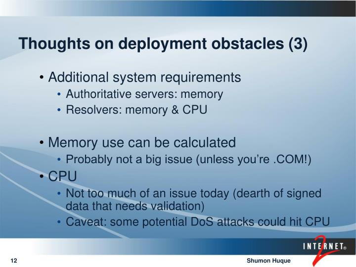Thoughts on deployment obstacles (3)