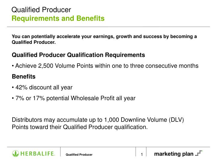 Qualified producer requirements and benefits