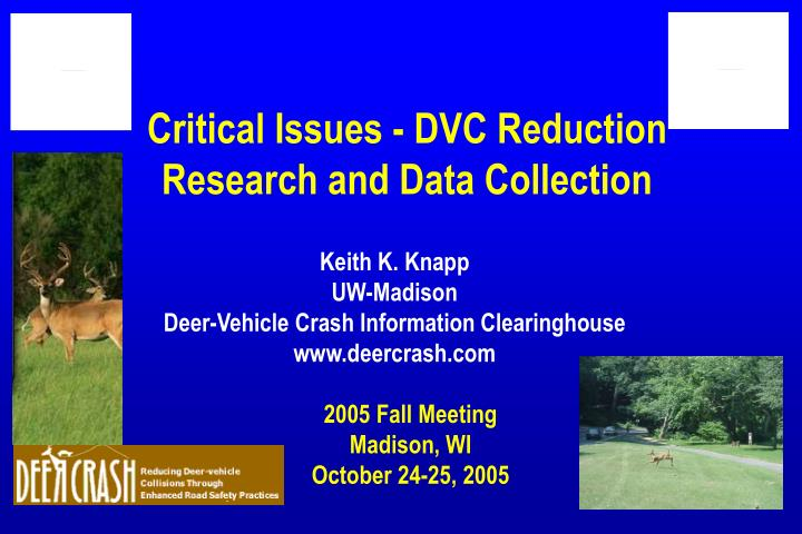 Critical issues dvc reduction research and data collection