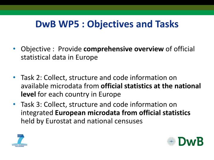 Dwb wp5 objectives and tasks