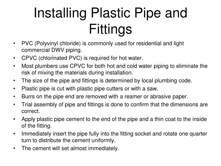 Installing Plastic Pipe and Fittings