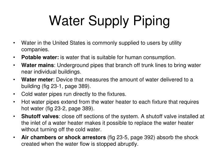 Water Supply Piping