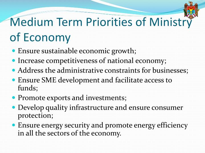 Medium term priorities of ministry of economy