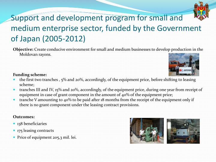 Support and development program for small and medium enterprise sector, funded by the Government of Japan (2005-2012)