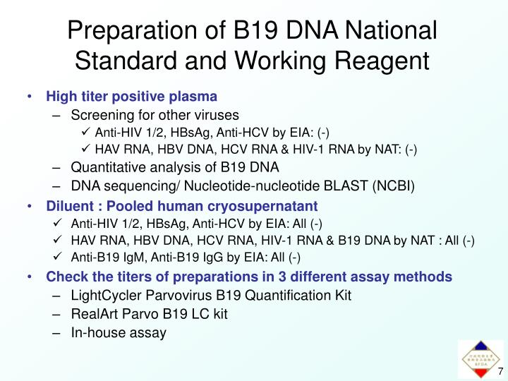 Preparation of B19 DNA National Standard and Working Reagent