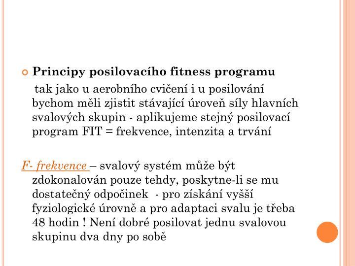Principy posilovacho fitness programu