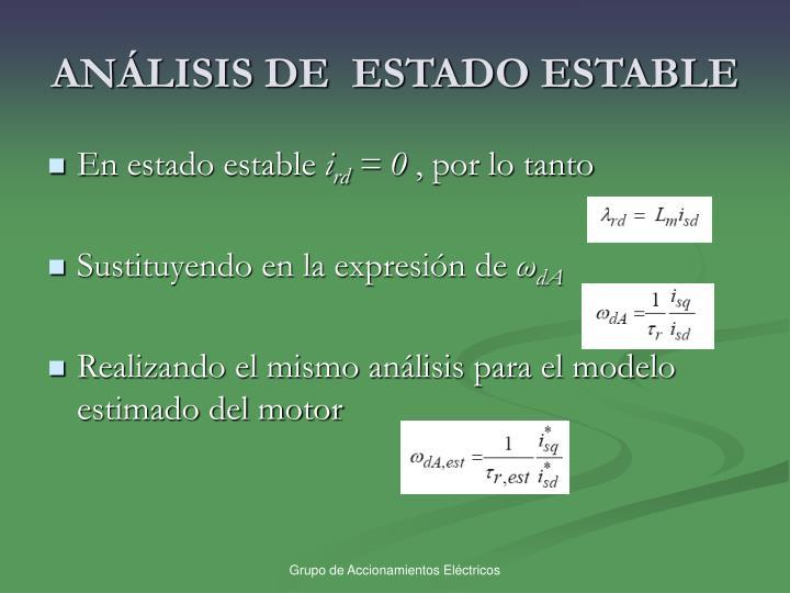 ANÁLISIS DE  ESTADO ESTABLE