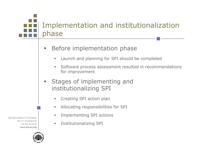 Implementation and institutionalization phase
