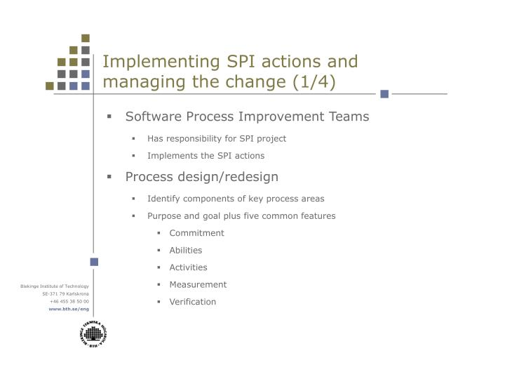 Implementing SPI actions and managing the change (1/4)