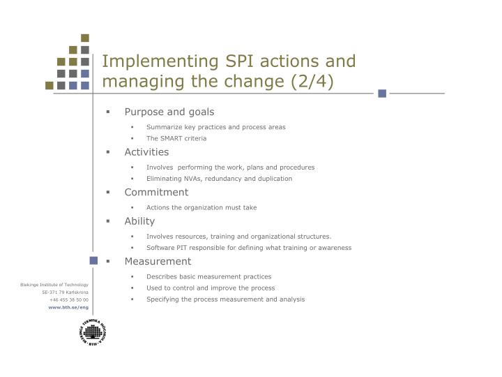 Implementing SPI actions and managing the change (2/4)