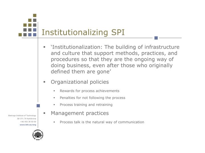 Institutionalizing SPI