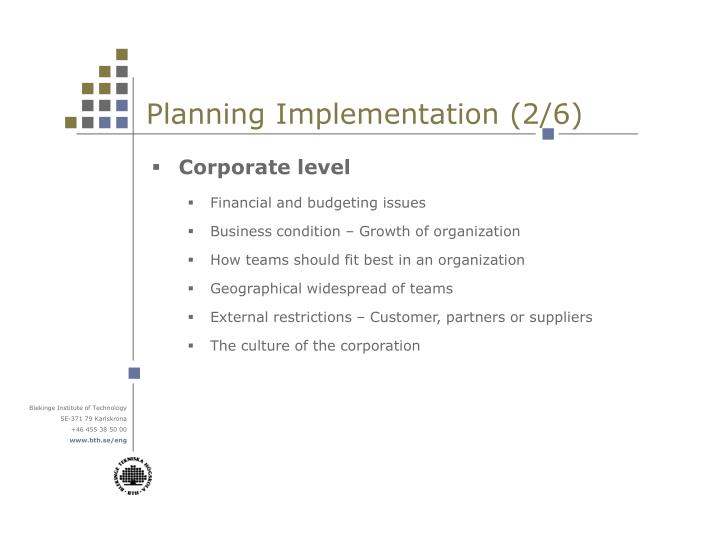 Planning Implementation (2/6)