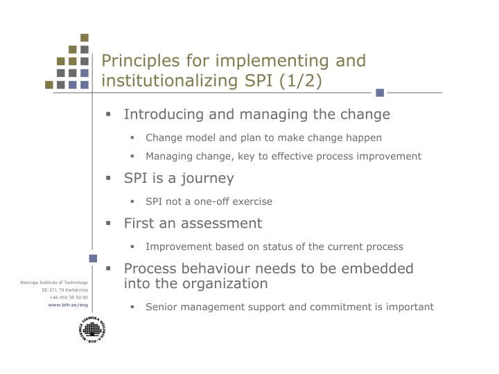 Principles for implementing and institutionalizing SPI (1/2)