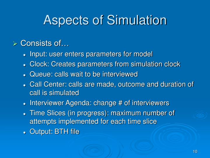 Aspects of Simulation