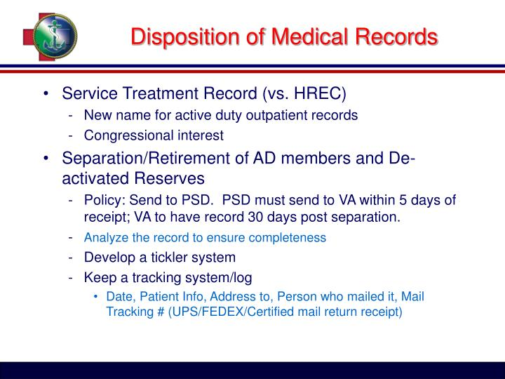 Disposition of medical records