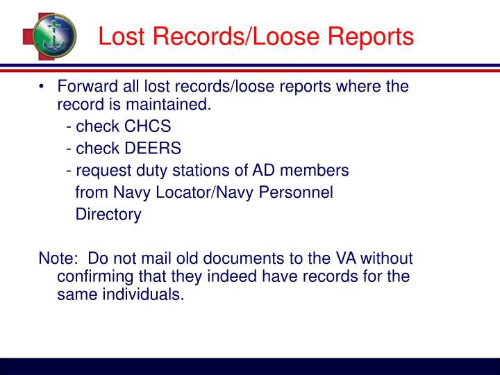 Lost Records/Loose Reports