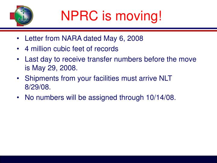 NPRC is moving!