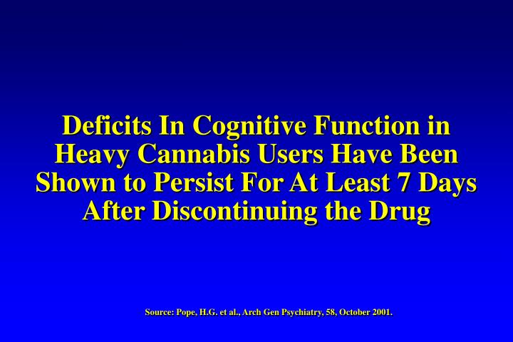 Deficits In Cognitive Function in