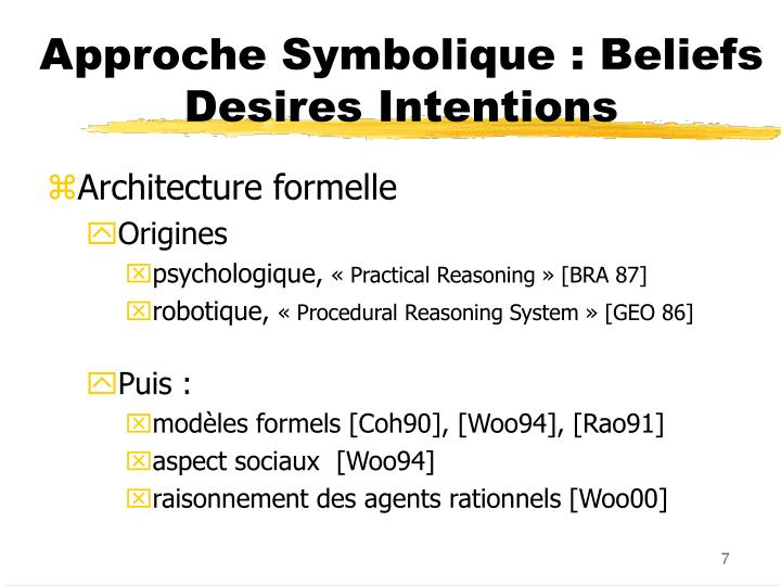 Approche Symbolique : Beliefs Desires Intentions
