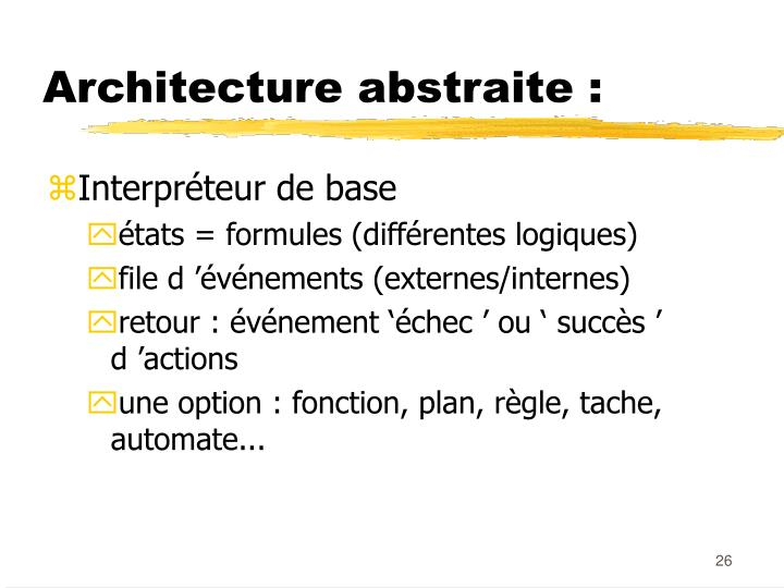 Architecture abstraite :
