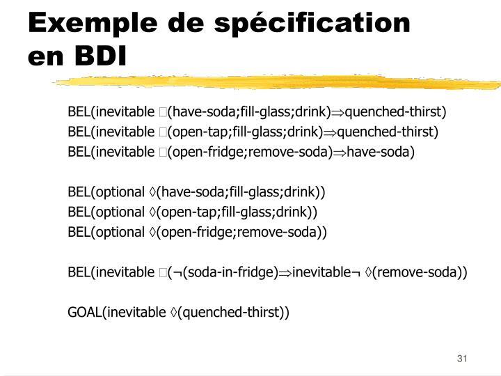 Exemple de spécification en BDI