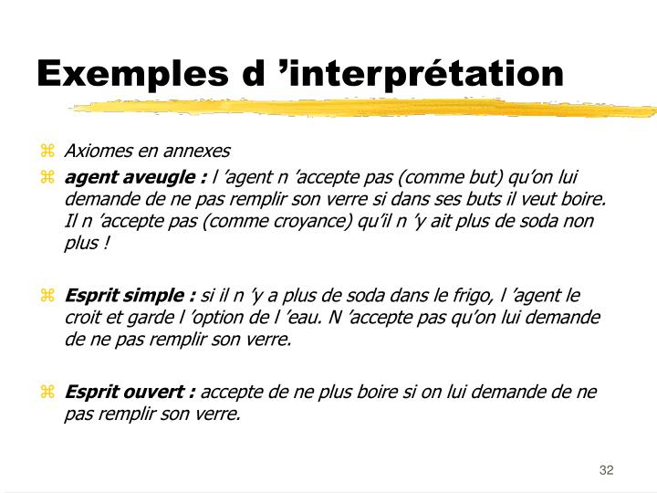 Exemples d 'interprétation