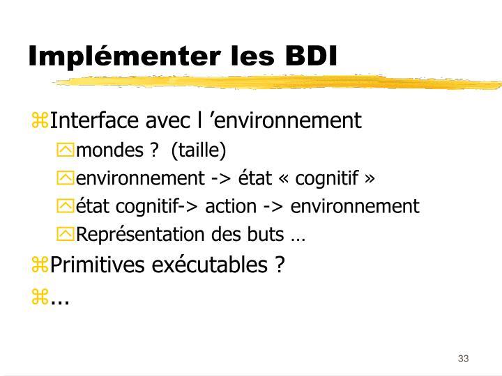 Implémenter les BDI