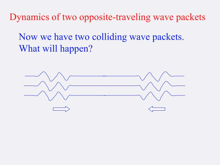 Dynamics of two opposite-traveling wave packets