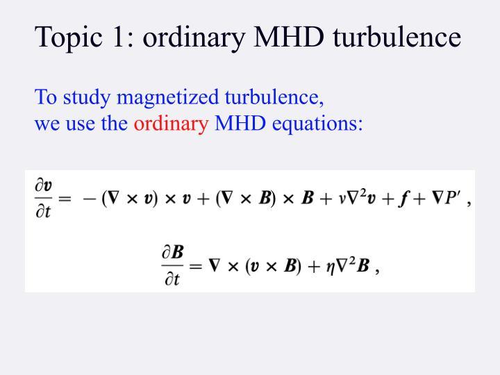 Topic 1: ordinary MHD turbulence