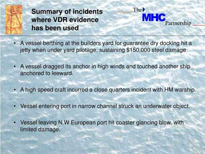 Summary of incidents where VDR evidence  has been used