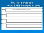 the fifth paragraph how sars emerged in 2003