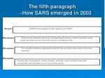 the fifth paragraph how sars emerged in 20031