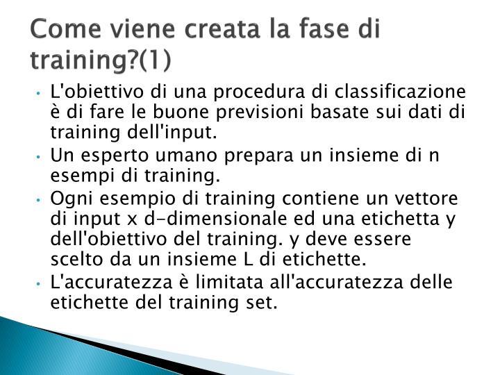 Come viene creata la fase di training?(1)