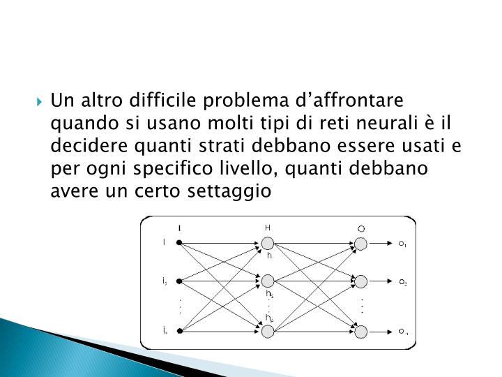 Un altro difficile problema d'affrontare quando si usano molti tipi di reti neurali è il decidere quanti strati debbano essere usati e per ogni specifico livello, quanti debbano avere un certo settaggio