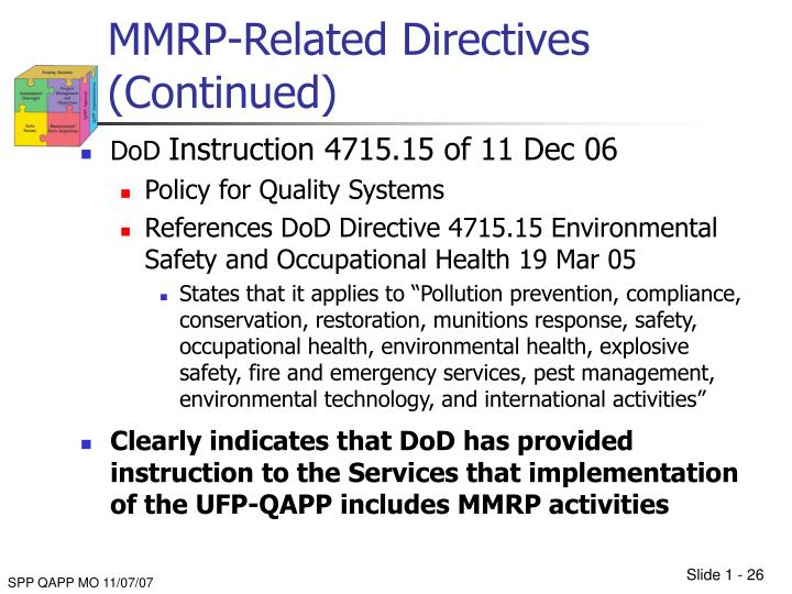 MMRP-Related Directives (Continued)