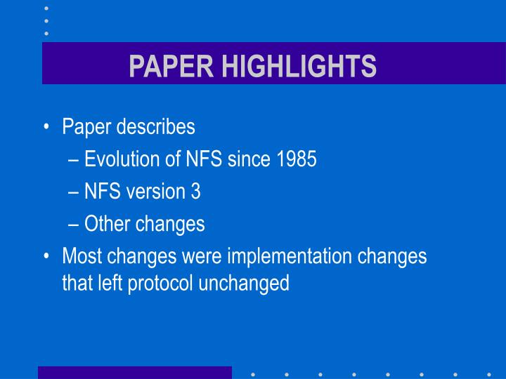 PAPER HIGHLIGHTS